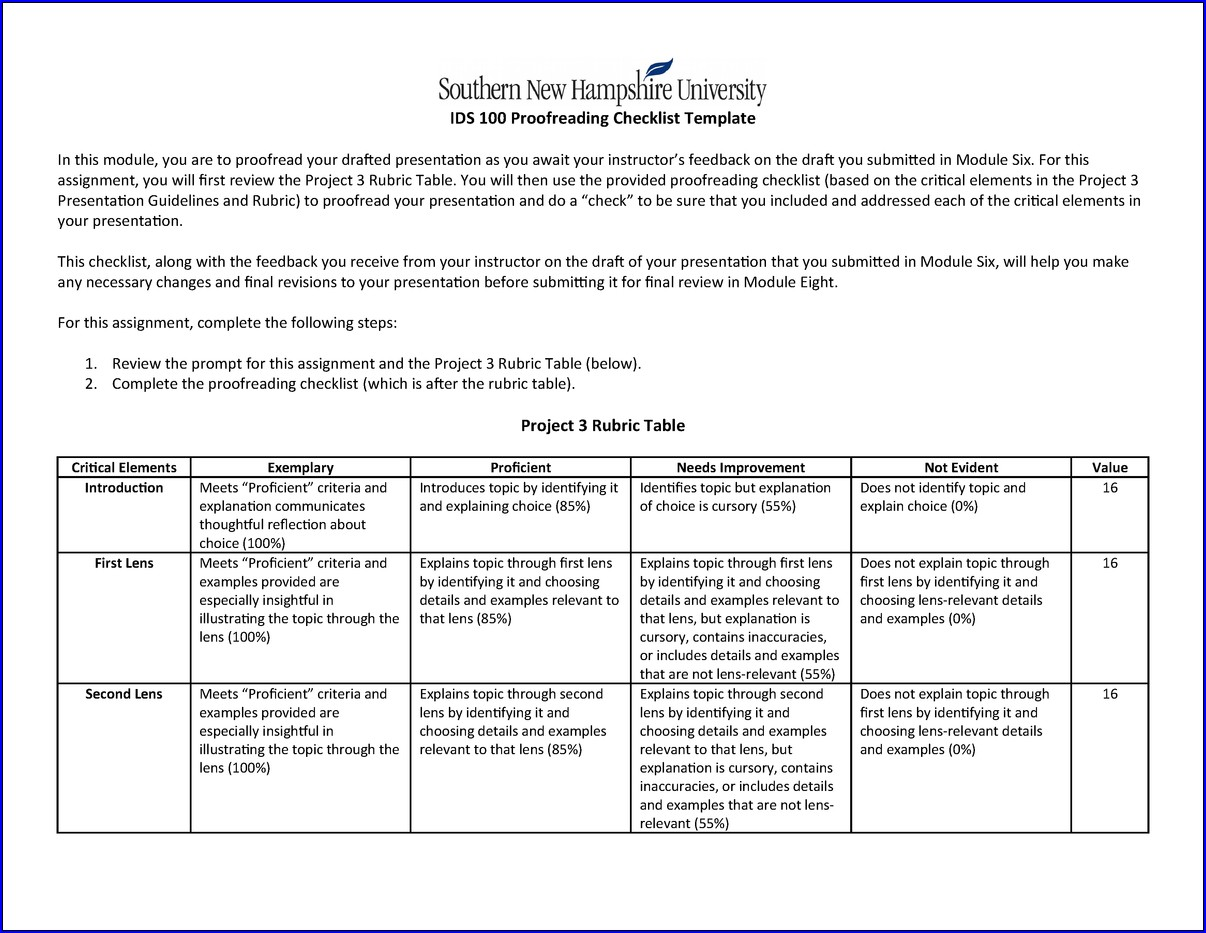 Proofreading Checklist Template Sample