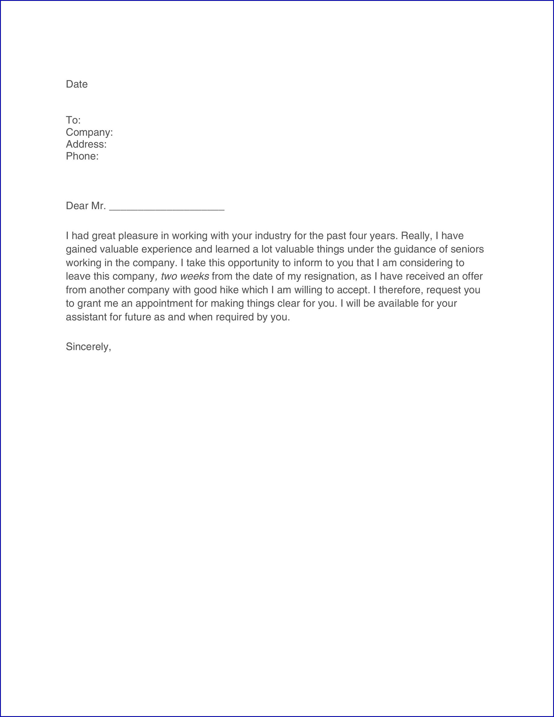 Resignation Letter Two Weeks Notice Example