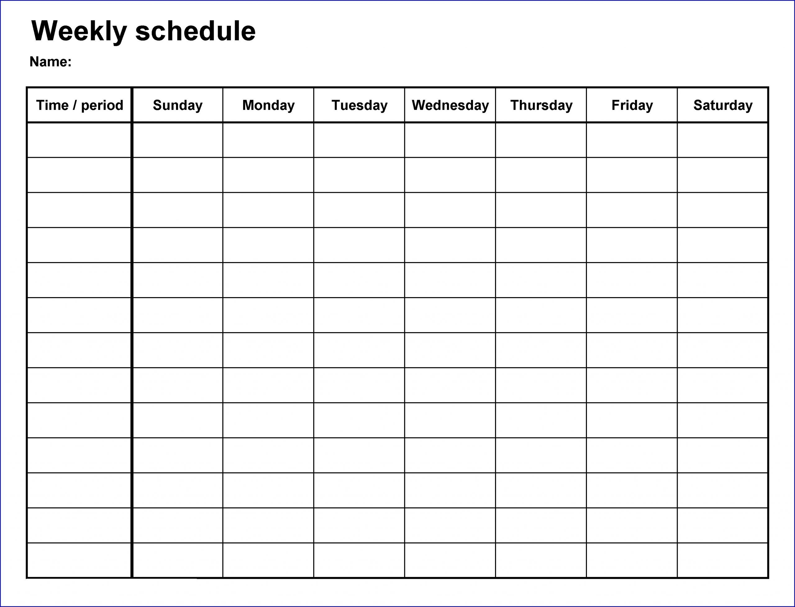 Sample of 7 Day Schedule Template