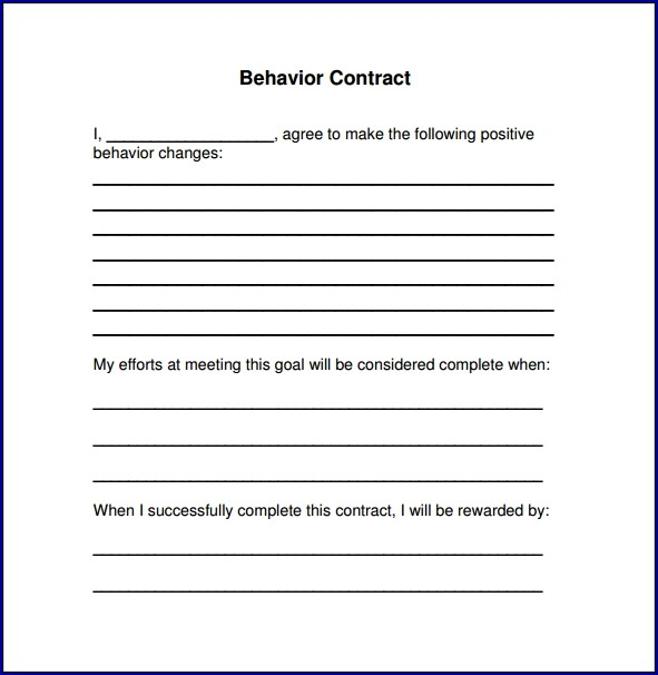 Sample of Behavior Contract for Adults