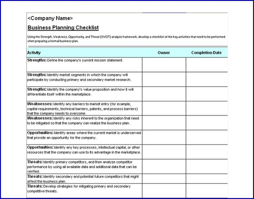 Sample of Business Checklist Template