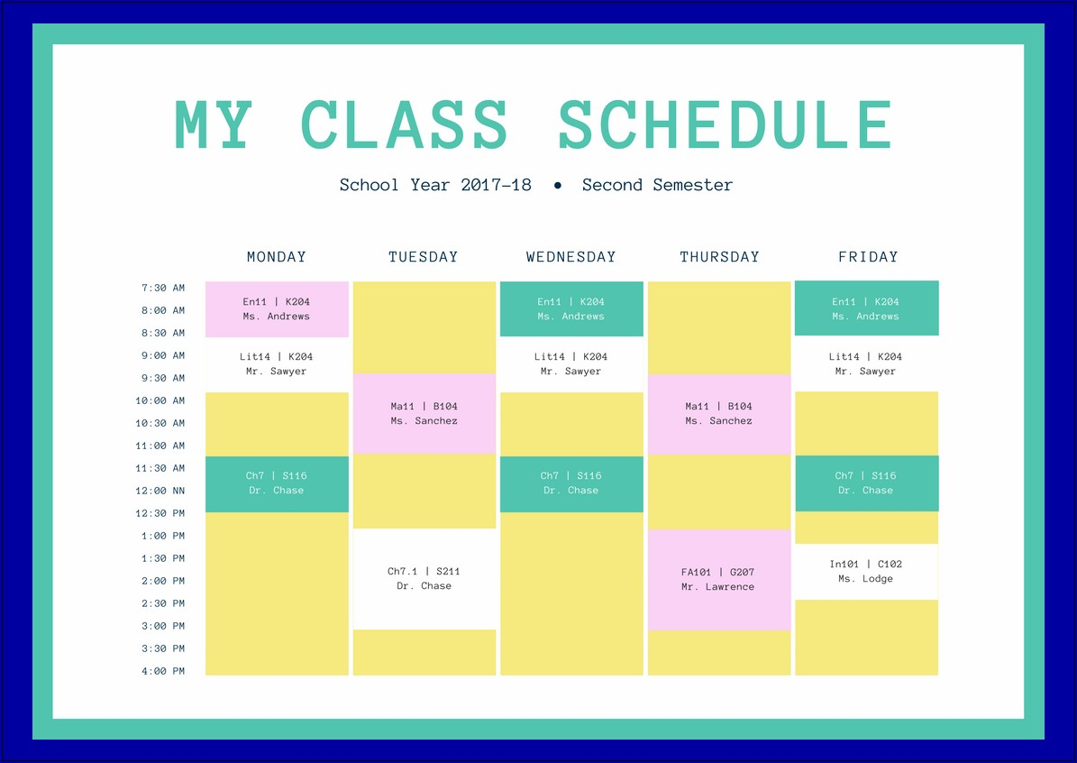 Sample of Class Timetable