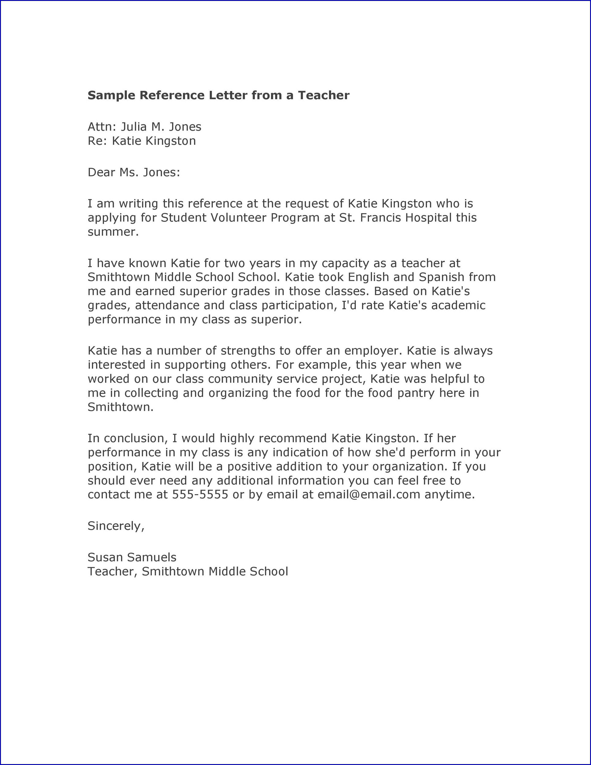 Sample of College Recommendation Letter From Teacher