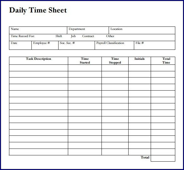 Sample of Daily Timesheet Template