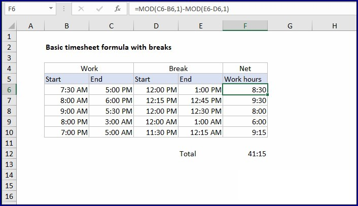 Sample of Excel Weekly Timesheet With Formulas