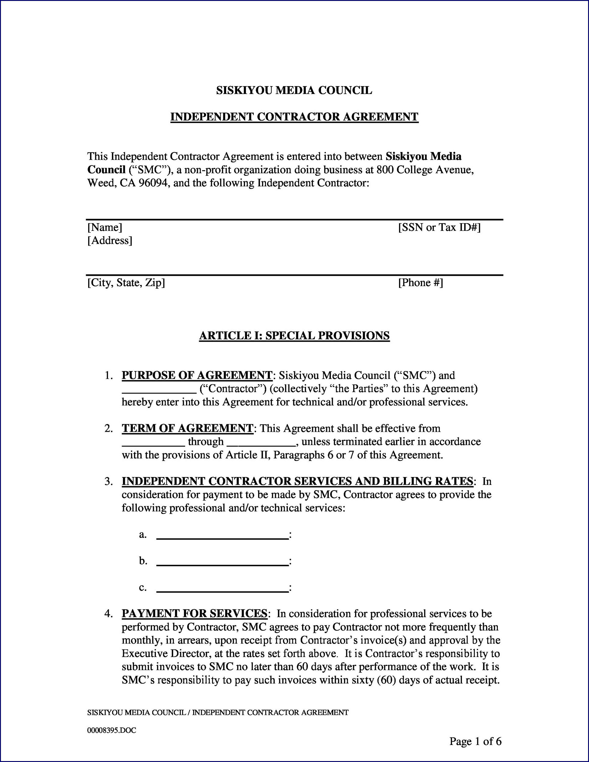 Sample of Independent Contractor Agreement