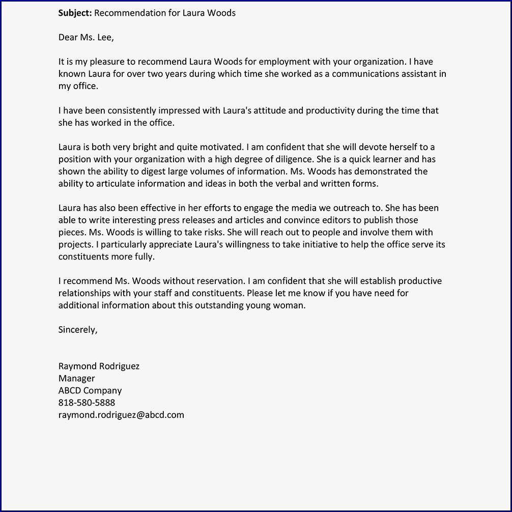Sample of Letter of Recommendation Template for a Job