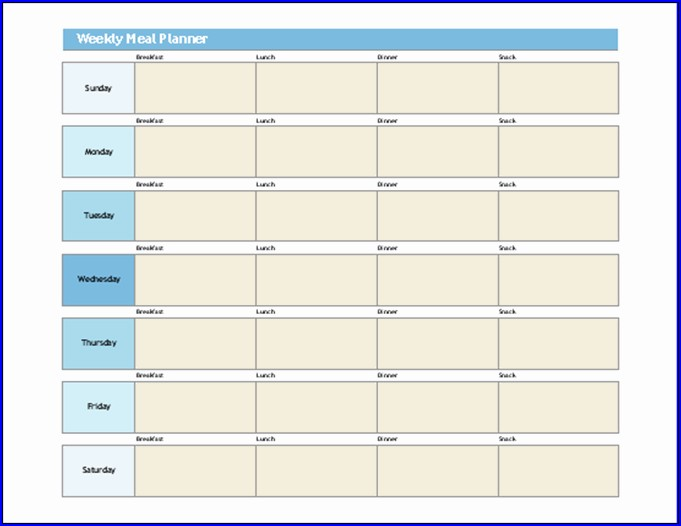 Sample of Meal Plan Template Excel
