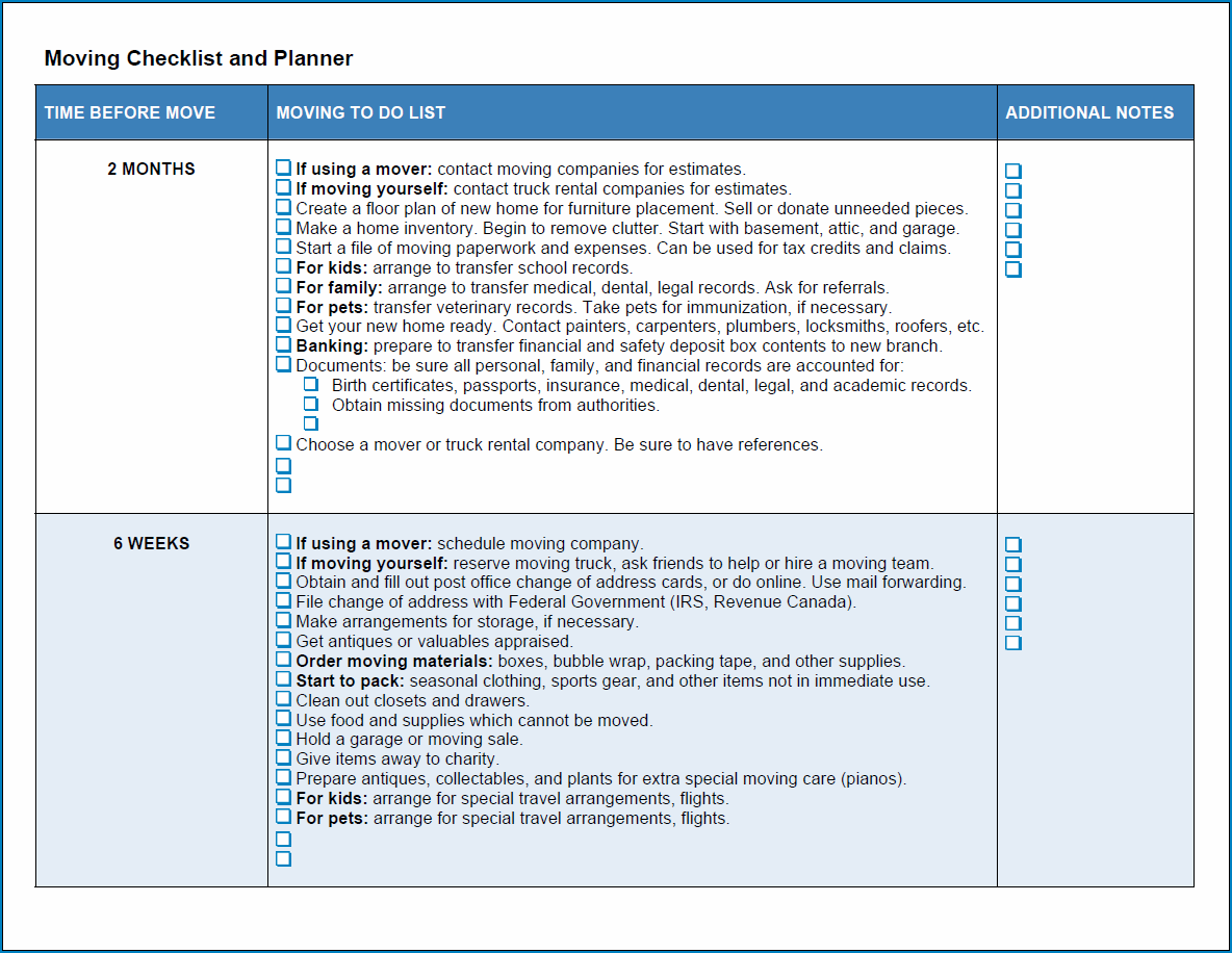 Sample of Moving Business Checklist Template