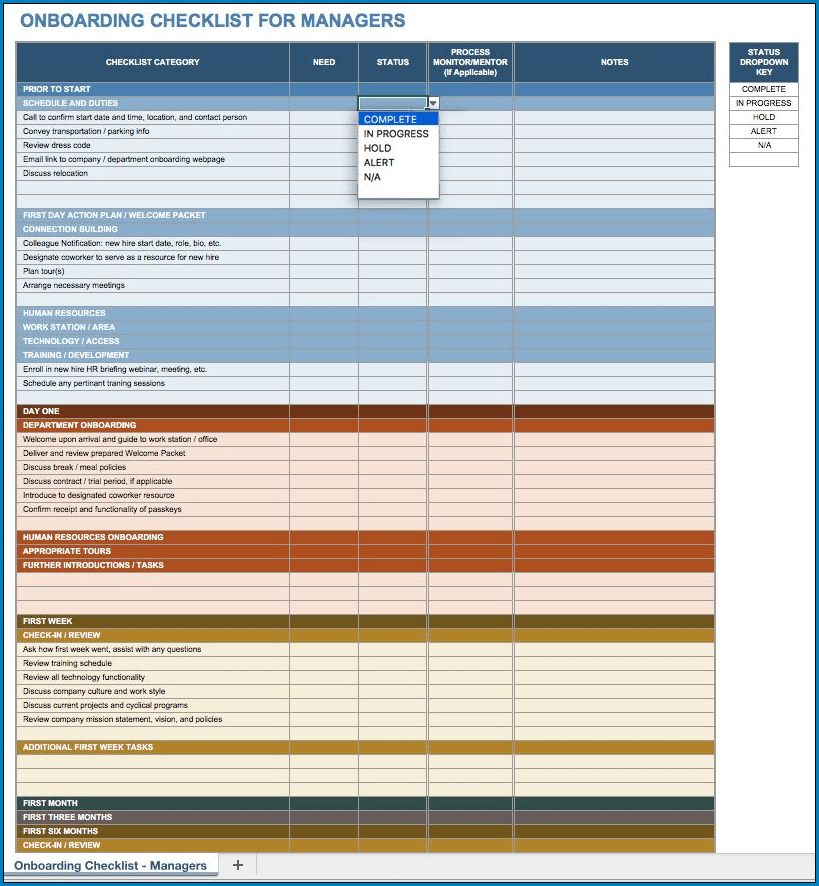Sample of On Boarding Checklist Template