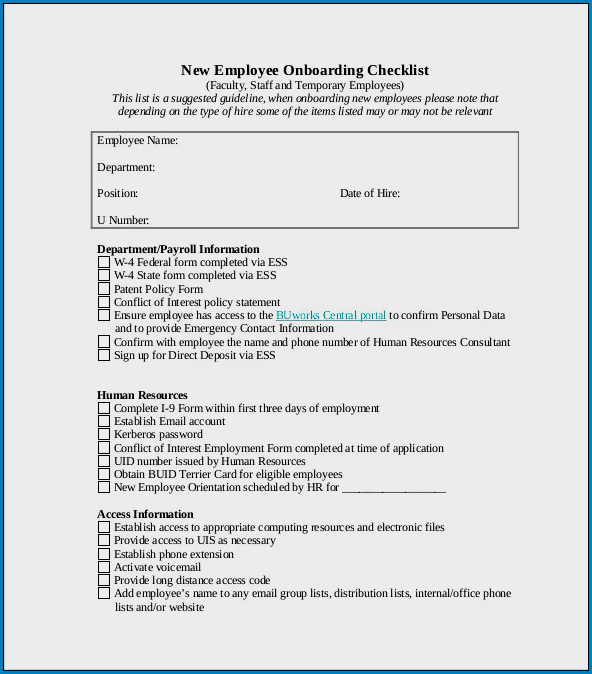 Sample of Onboarding Checklist Template Excel