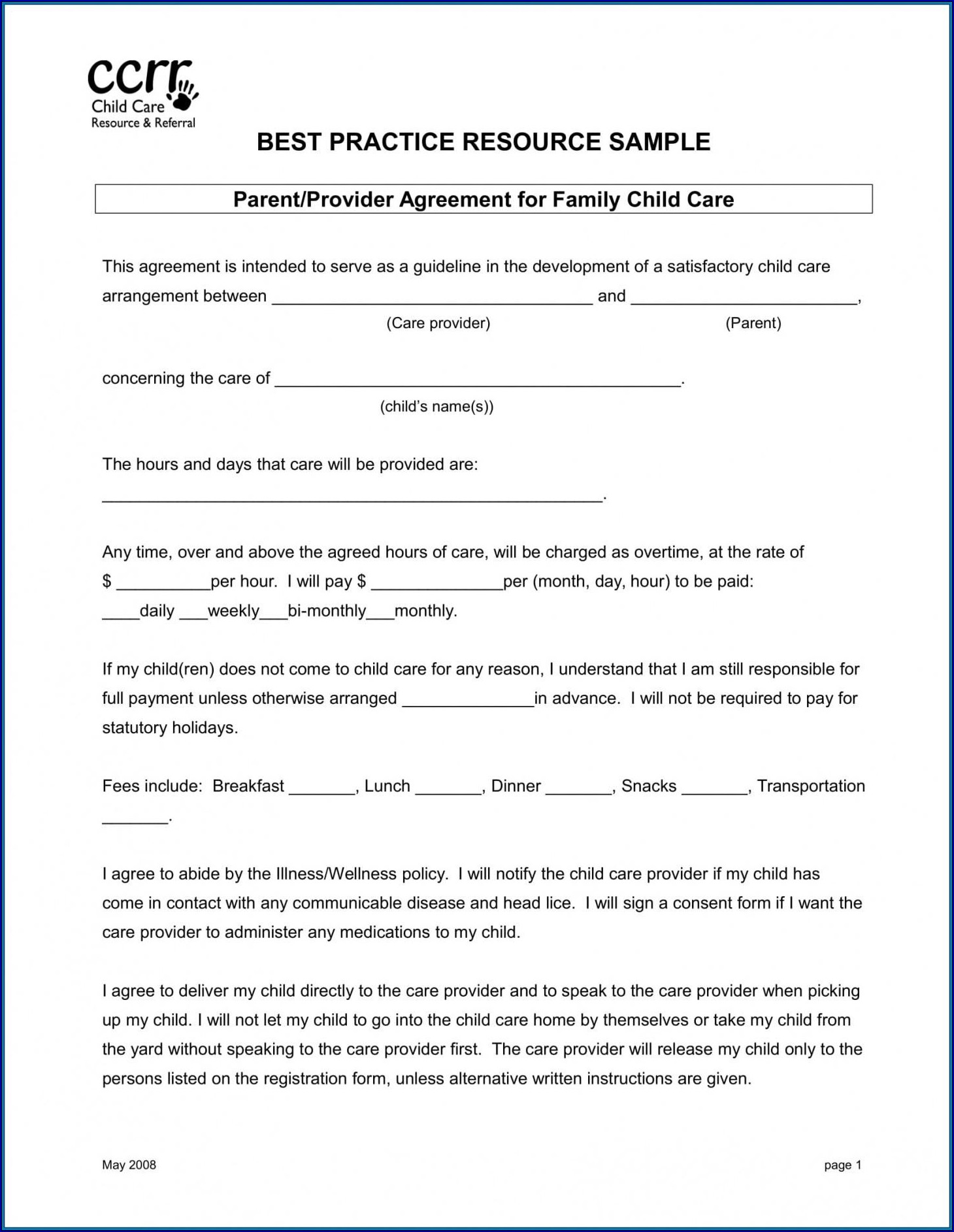 Sample of Parent Child Contract