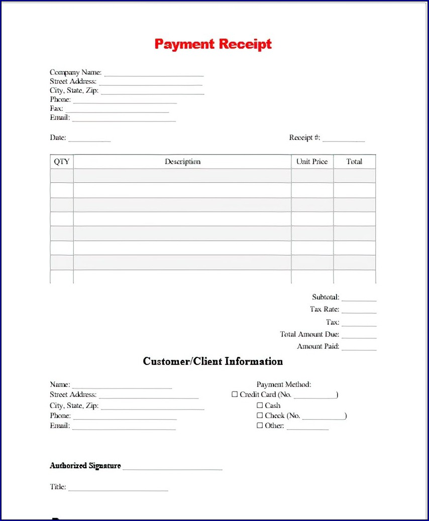 Sample of Payment Receipt
