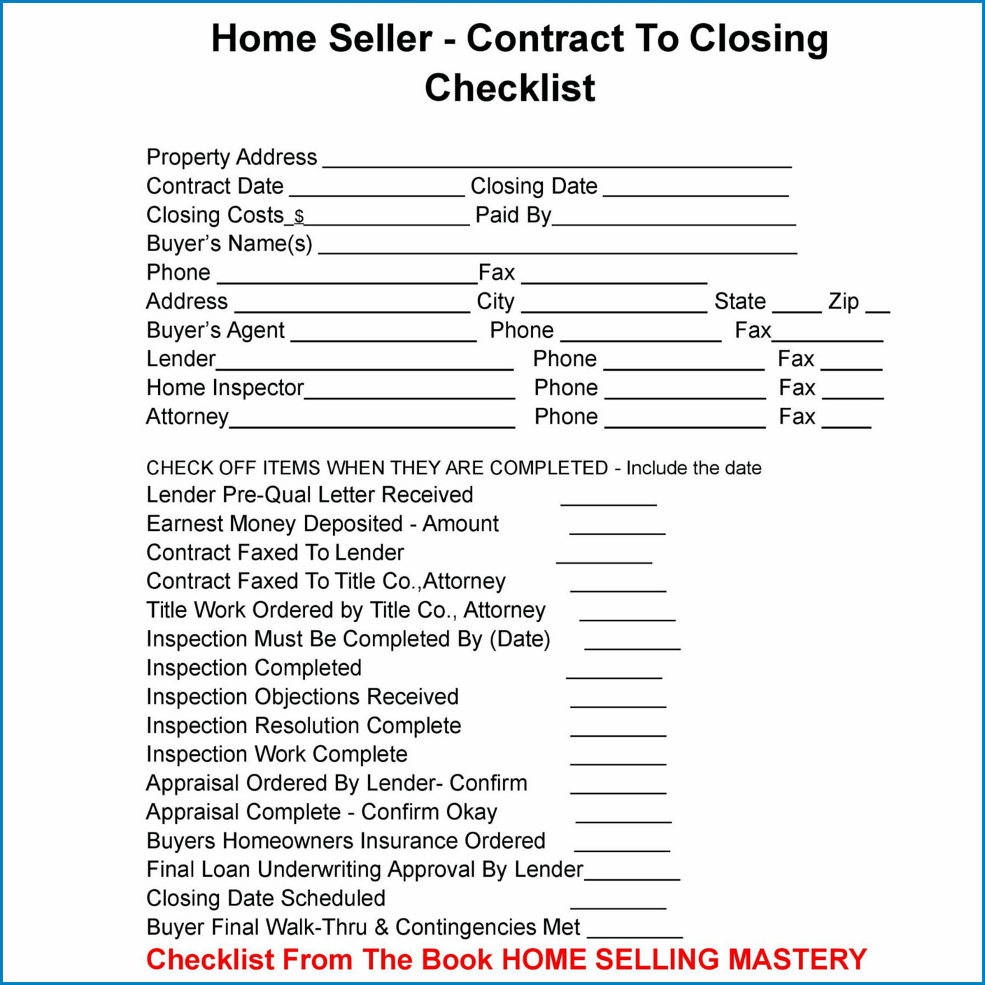 Sample of Real Estate Closing Checklist Template