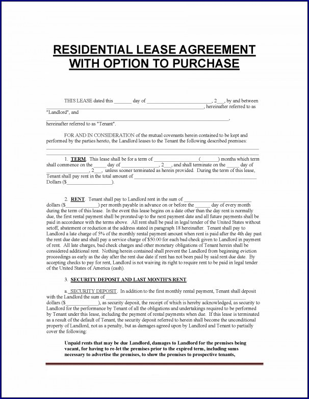 Sample of Rent With Option to Buy Contract Form