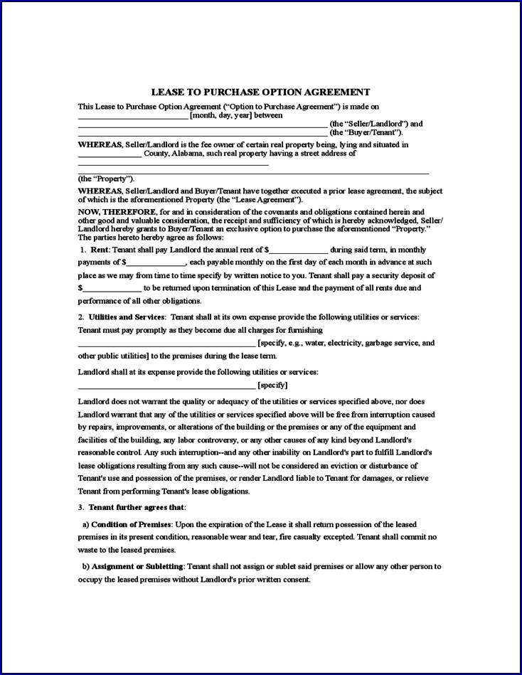 Sample of Rent to Own Contract Forms for Houses