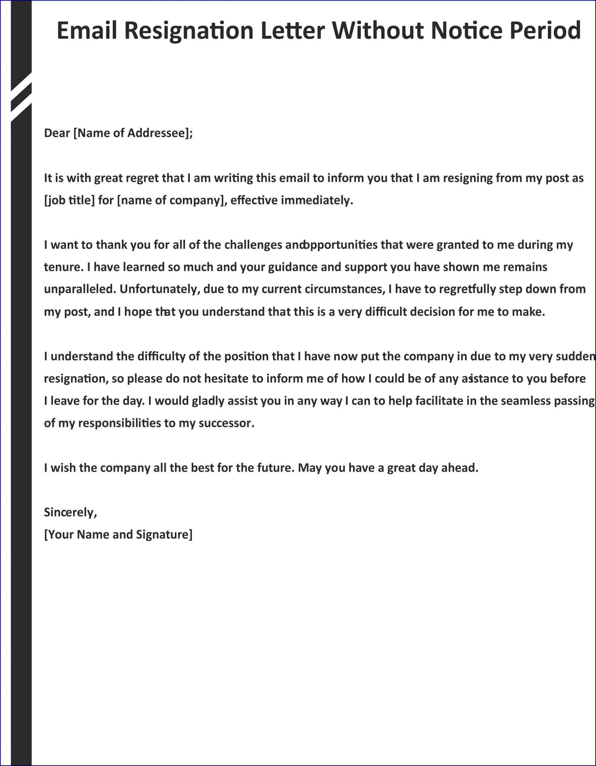 Sample of Resignation Letter Template Without Notice