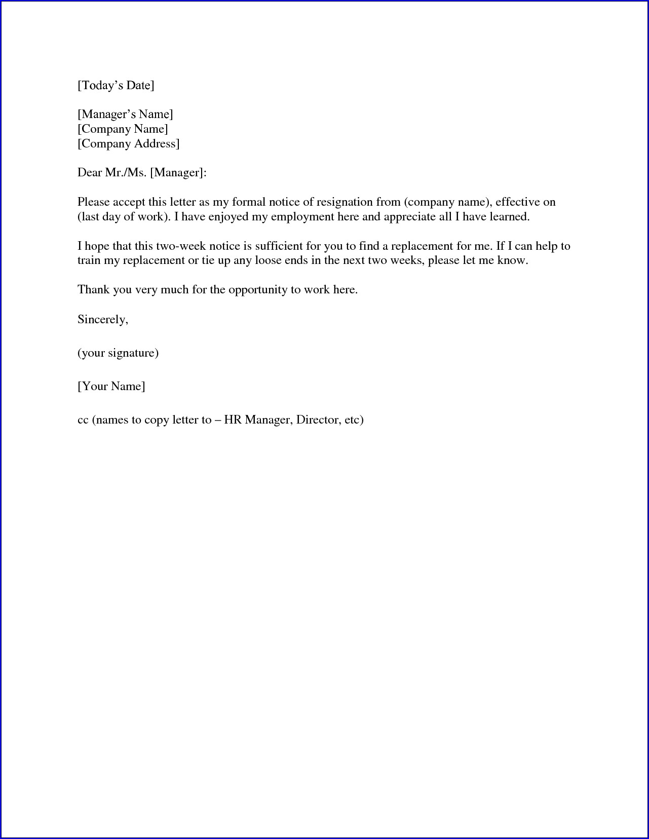 Sample of Resignation Letter Two Weeks Notice