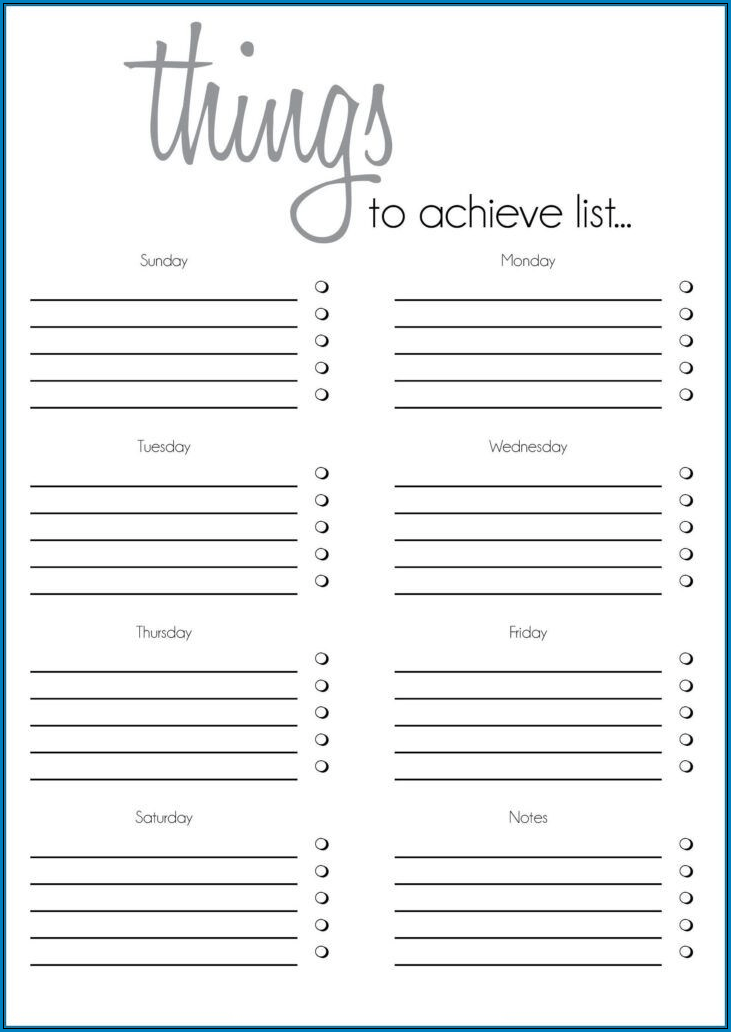 Sample of To Do Checklist Template
