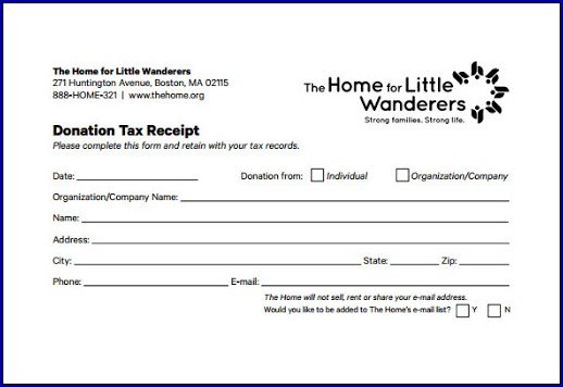 Tax Receipt for Donation Example