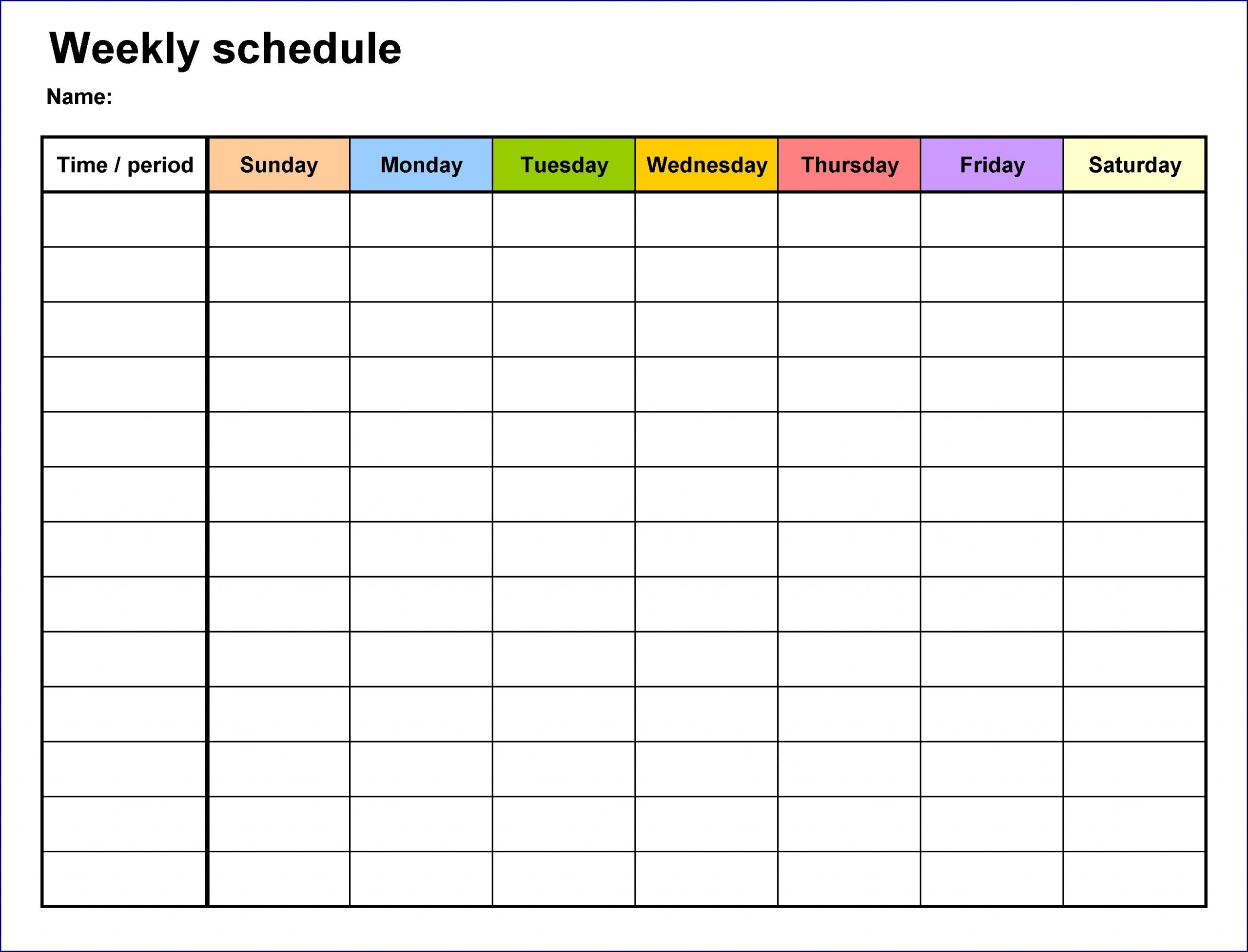 Weekly Timetable Example